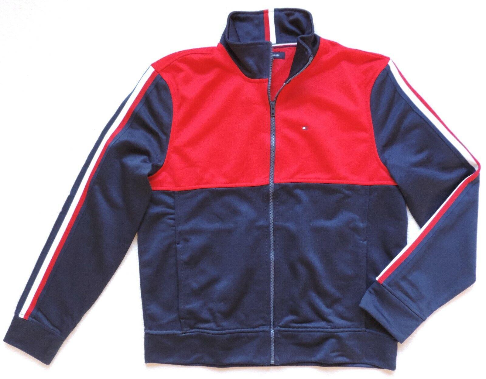 Tommy Hilfiger Herren Logo Reißverschluss Trainingsjacke, Marineblau/Rot