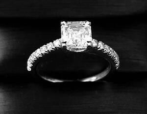 Stunning 1.29CT 'Asscher Cut' Diamond Engagement Ring - 18 White Gold