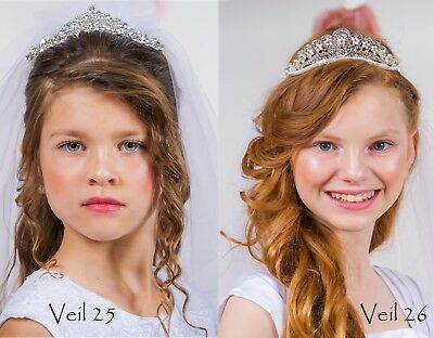 New Girls Rhinestone First Communion White Veil Tiara Headpiece Princess Wedding](First Communion Headpieces)