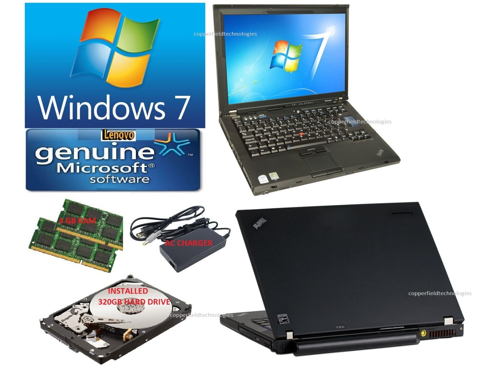 LENOVO Laptop/Notebook WINDOWS 7 WIFI 248GB HDD CDRW DVD, Office 698 complete