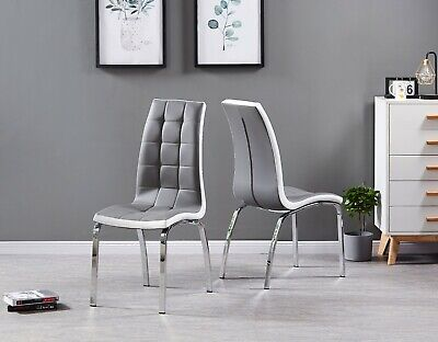 Grey Faux Leather x 2 Chrome Sturdy Metal Legs Dining Chair Home Modern Kitchen