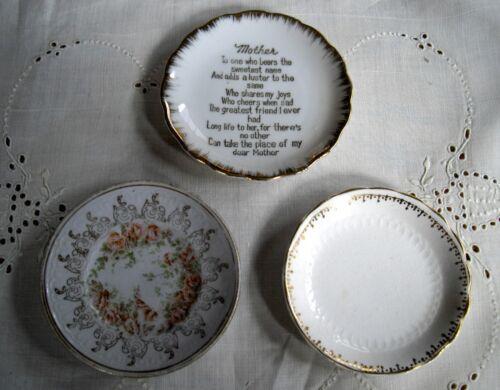 """Vintage Porcelain  Butter Pat Plates 3 1/4"""" & 3 1/2""""   ~ Set of 3 ~"""