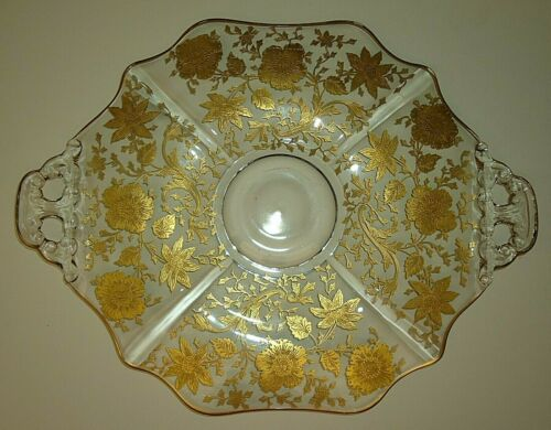 Cambridge Glass Wildflower Gold Encrusted Etch 14 Inch Handled Platter Plate