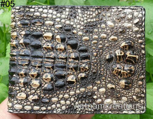 Genuine Alligator Crocodile Leather Skin Men Bifold Wallet Brown Handmade RFID .