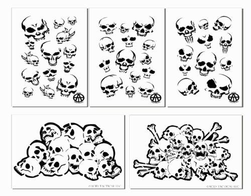 Mylar Skull Spray Painting Stencils RC Model Gun Airbrush Skulls Mask 5 DESIGNS