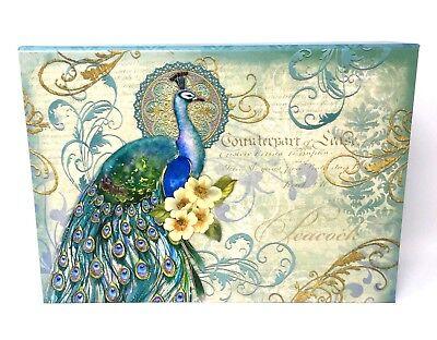 Punch Studio Rectangle Flip Top Nesting Box Peacock Flourish 60673 Large
