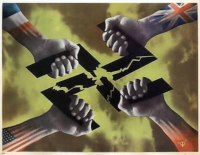 WW2  ALLIES ANTI GERMAN PROPAGANDA POSTER USA BRITAIN RUSSIA FRANCE NEW A4 PRINT