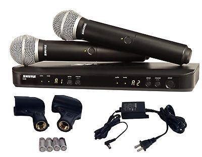 Shure Dual Two Handheld Mics UHF Wireless Microphone System BLX288/PG58  ()