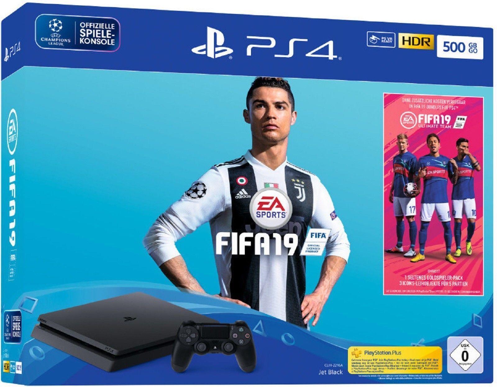 SONY PlayStation 4 500 GB Jet Black PS4 Schwarz + FIFA 19 *NEU&OVP*