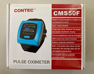 Contec Cms50f Wrist Pulse Oximeter With Finger Probe Usb Cable And Charger - Blu