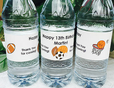 20 PERSONALIZED SPORTS Birthday Party Waterproof WATER BOTTLE LABELS for Favors! (Personalized Labels For Water Bottles)