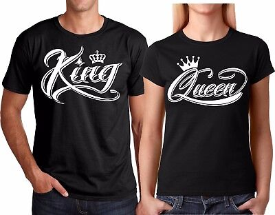 King OR Queen NEW VALENTINES Christmas Couple matching funny cute T-Shirts