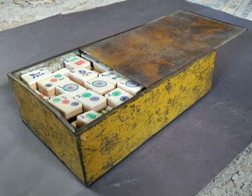 Early 20th C. antique Mahjong set in original metal box, 136 bamboo & bone tiles