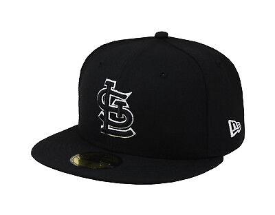 New Era 59Fifty Hat MLB St. Louis Cardinals Mens Adult Size Black White 5950 Cap ()