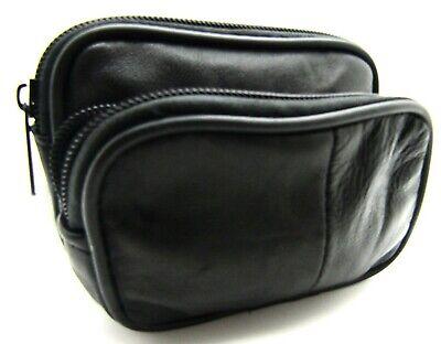 Kamera Tasche Geldbörse (Weich Schwarz Echtleder Geldbörse Klein Gürteltasche Kamera Gürtelschlaufe Band)