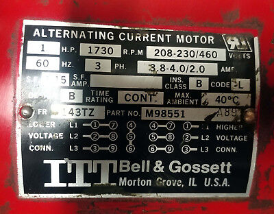 1 Used Bell Gossett Pd-38t W M98551 Motor-series Pd Pump Make Offer
