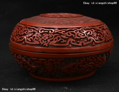"7"" Old Chinese Lacquerware Carved mandarin duck Statue casket Box Jewelry boxes"