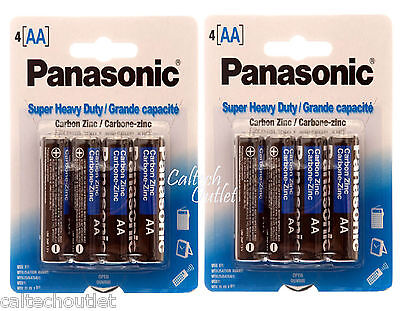 8Pk AA Batteries Battery Panasonic Super Heavy Duty Power Zinc Carbon Long Life