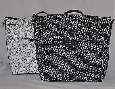 292b08649a GUESS Famous Logo Backpack School Book Bag Sac Purse Black White Monogram  New