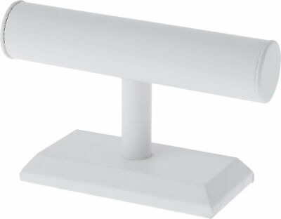 Plymor White Faux Leather T-bar Bracelet Display Stand 7.5 W X 5h Pack Of 2