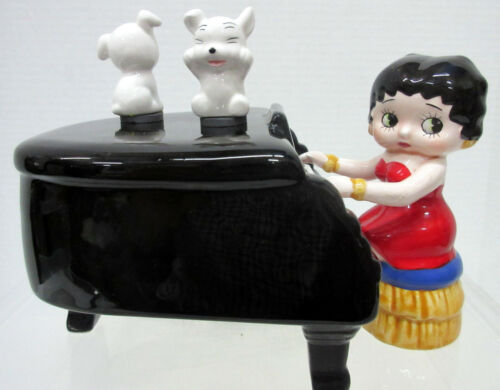 New Betty Boop Playing Grand Piano Dancing Pudgy Music Box By Vandor NIB