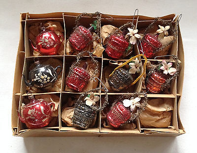 11 Antique Vtg Wire Wrapped Flower Basket & Teapot Xmas Ornaments Feather Tree