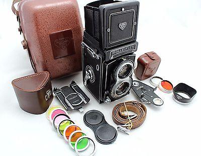 Rolleiflex T II,vintage 6x6 camera, lens Zeiss Tessar 3.5/75 & Rollei Metal Case