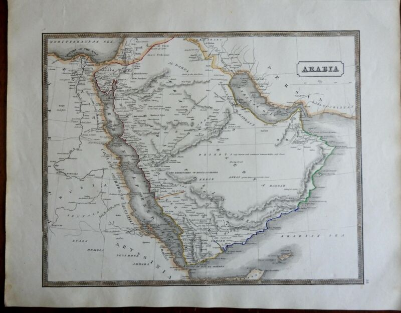 Arabian Peninsula Middle East Red Sea Mecca Medina 1846 scarce map