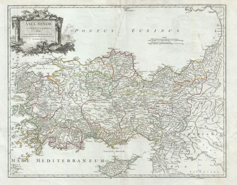 1756 Vaugondy Map of Turkey or Asia Minor