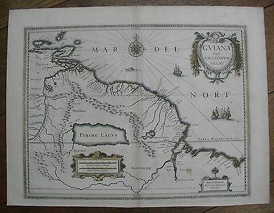 c1630s, Guyana, Guiana Sive Amazonum Regio, Henricus Hondius, Antique Map