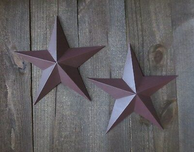 """Lot of 2 Country Primitive 10"""" Burgundy Barn Stars Rustic Wall Decor Dimensional"""
