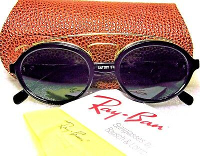 Ray-Ban USA Vintage NOS B&L Gatsby Style 6 Ebony-Gold W0940 New Sunglasses &Case