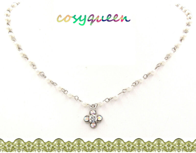 Swarovski Elements Crystal New Clear AB White Clover Pearl Bead Necklace Gift