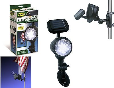 Solar Powered FLAG Pole Light LED Mount flagpole No Wiring Illuminate Bright NEW