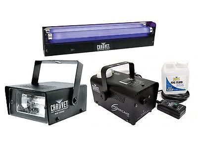 Chauvet DJ Mini Strobe LED Light Effect + H700 Fog Machine + NVF-18 Black Light
