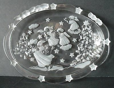 "9.25"" MIKASA Christmas Angels Frosted Crystal Platter plate"