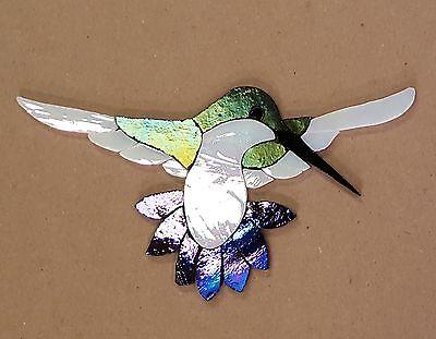 PRECUT STAINED GLASS KIT FEMALE HUMMINGBIRD MOSAIC INLAY GARDEN STONE CRAFT