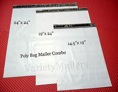 12 Poly Envelope Combo 4 Each Of 3 X-large Sizes Self-sealing Mailers