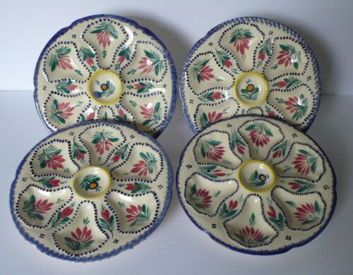 Set of 4 French QUIMPER Oyster Plates # 2