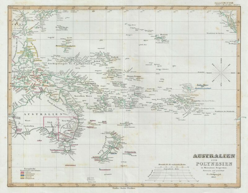 1853 Perthes Map of Australia and Polynesia in Mercator