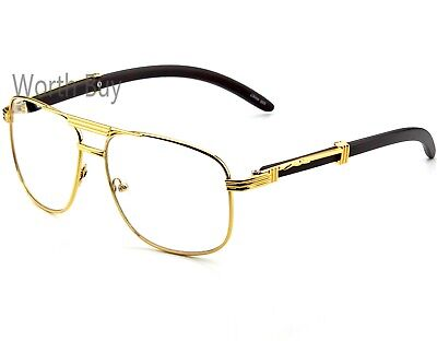 Mens Women Pilot Clear Lens Fashion Eye Glasses Retro RX Gold Wood Frame (Retro Hipster)