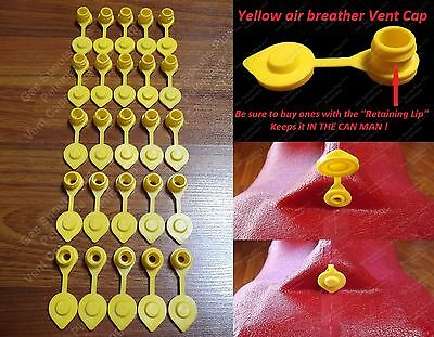 25 Yellow VENT CAPS Gas Fuel Can Midwest Blitz Wedco Briggs Scepter HEAVY DUTY