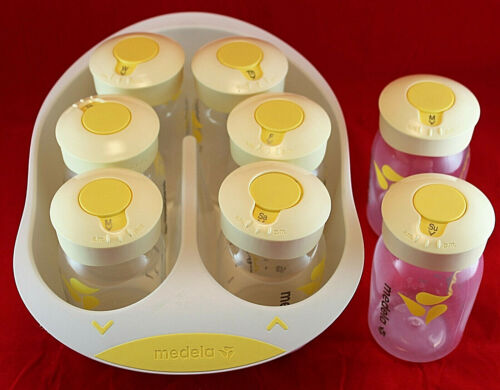 Medela Breastmilk Labeling & Storage System ~ 8 Bottles 8 Day of Week Lids Tray