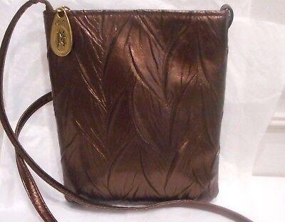 Jessica McClintock, Brown Metallic,Embossed Genuine Leather Shoulder Handbag