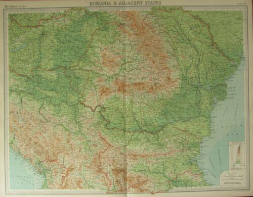 1922 LARGE ANTIQUE MAP ~ RUMANIA & ADJACENT STATES ~ BULGARIA