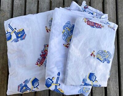 Pottery Barn Kids diggers fire trucks twin set sheets, two sets/pair avail, EUC