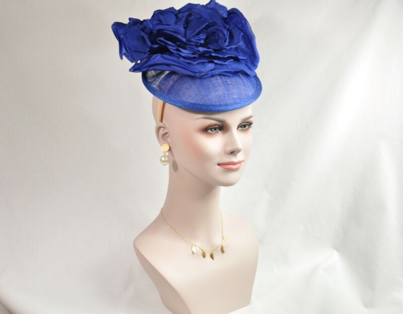 Roayl Blue Silk Flower with Sinamay Fascinator Hat Kentucky Derby Wedding Tea