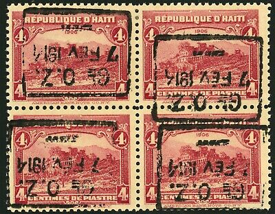 181 with Inverted Surcharge on Block of 4 OG, Top Pair PH, Bottom Pair NH