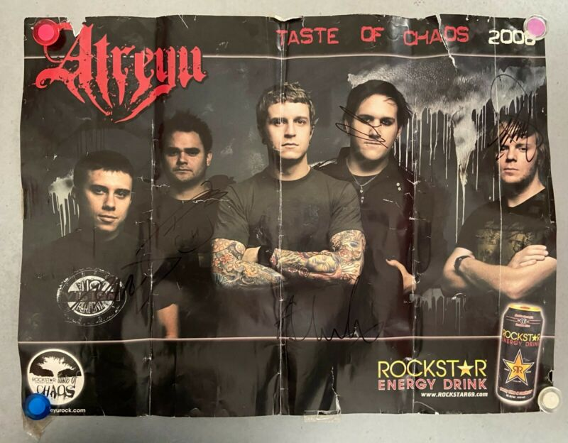ATREYU SIGNED TASTE OF CHAOS 2008 POSTER | My Chemical Romance Vinyl The Used