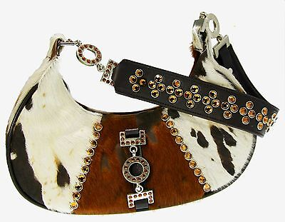 Swarovski White Leather - BB Simon,Shoulder Bag,brown,white,Swarovski Crystals,pony hair,acid wash,leather